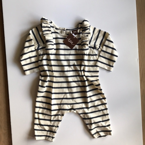 Tea Collection Infant Toddler Boy/'s Blue One Pieces Romper Long Sleeve Fish NWT